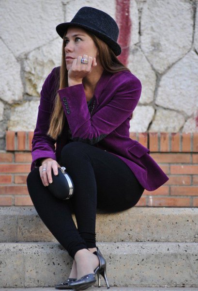 purple velvet blazer with all black outfit