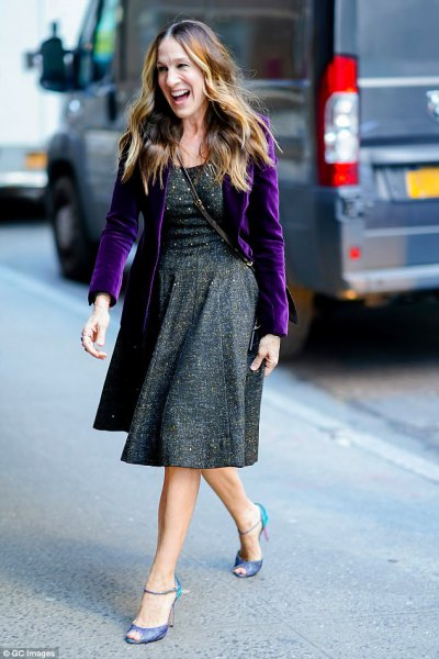 purple velvet blazer gray tweed dress