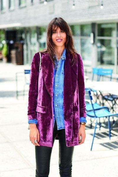 velvet blazer chambray shirt