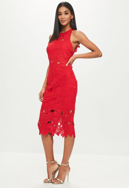 red sleeveless suede midi lace dress