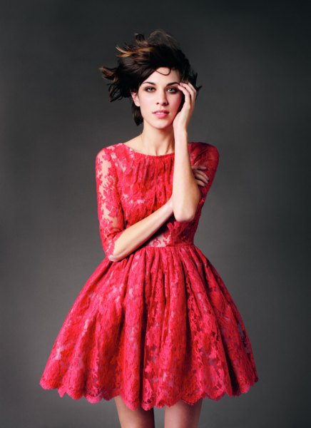 half-heated red skater lace dress