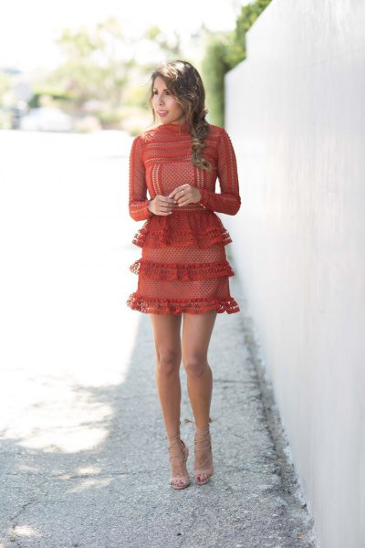 red multilayer ruffle mini dress
