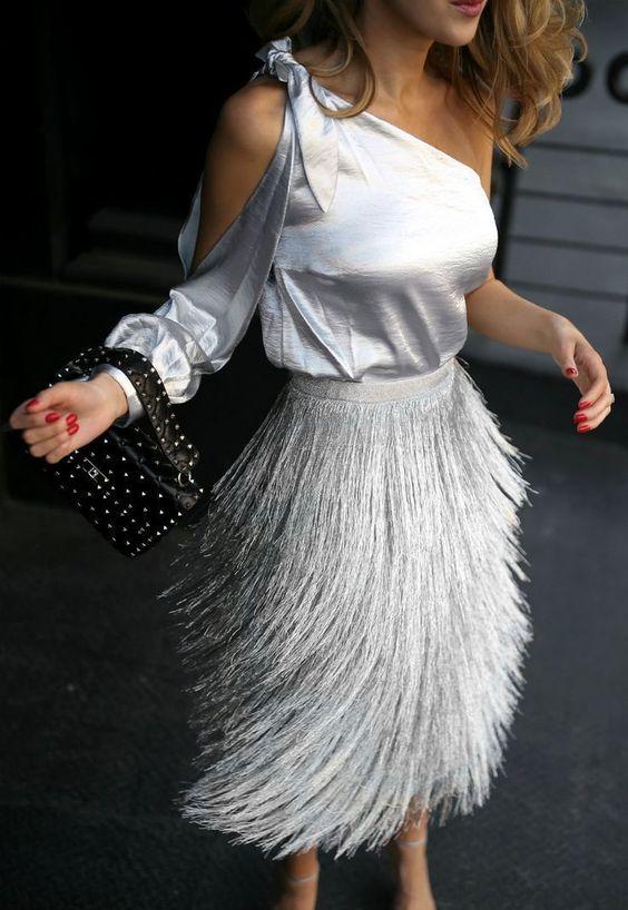 metallic top fringes