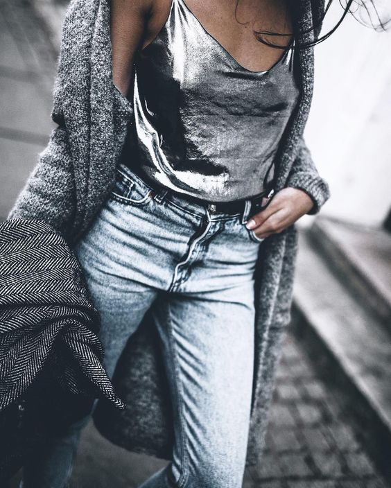 metallic top jeans silver