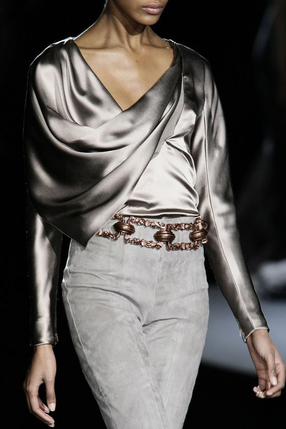 metallic top suede pants