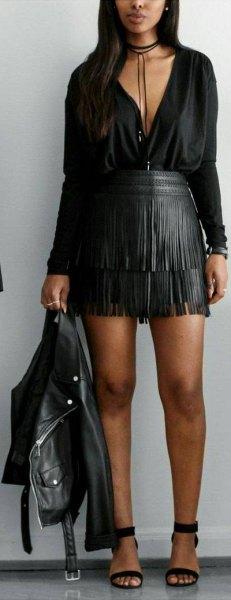 black blouse leather skirt