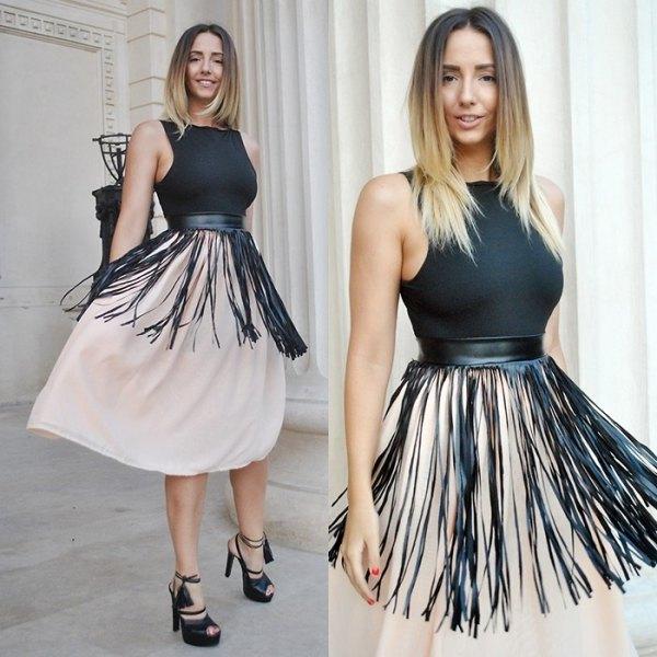 black fringe belt white chiffon blown midi skirt