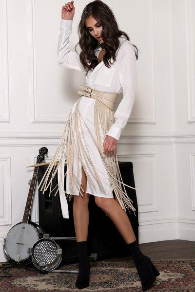 ivory leather fringe belt white knee length dress