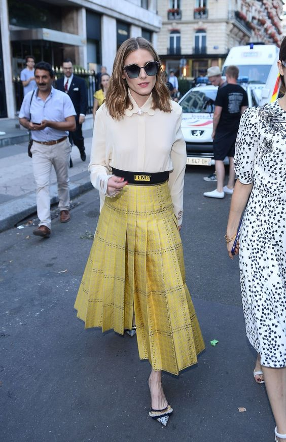yellow plaid skirt gold