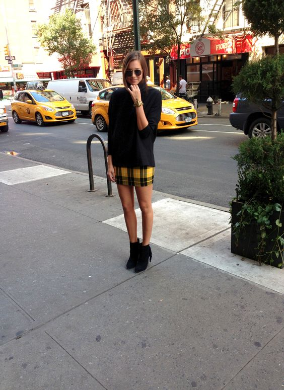 yellow plaid skirt tunic