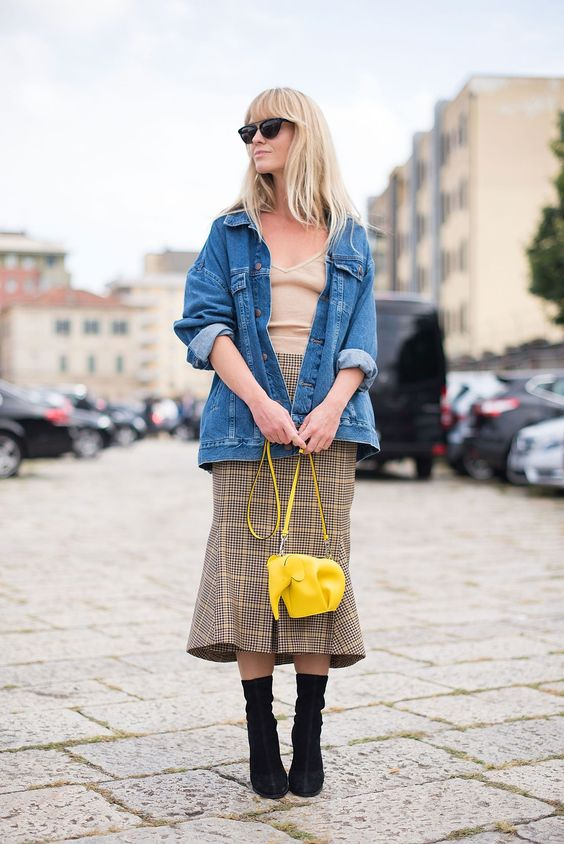 yellow plaid skirt denim jacket