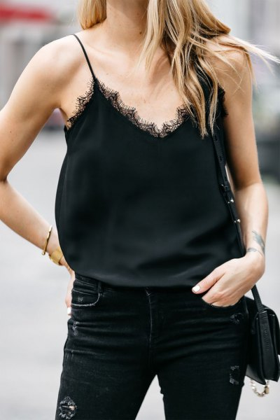 black lace camisole skinny jeans