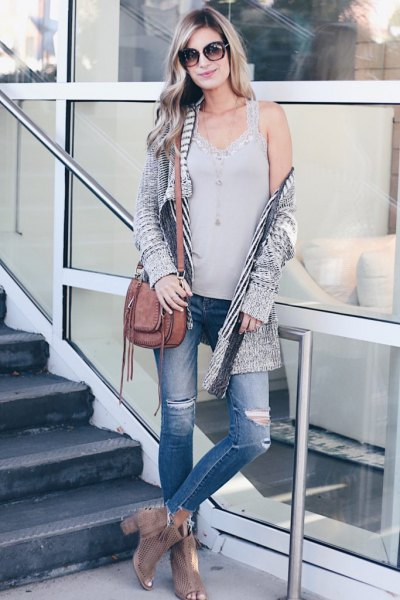 Heather gray long knitted cardigan jeans