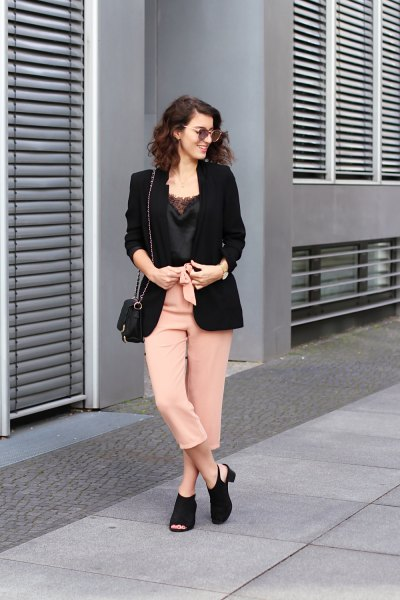 lace camisole black blazer cropped pants