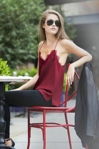 burgundy camisole black leather jacket
