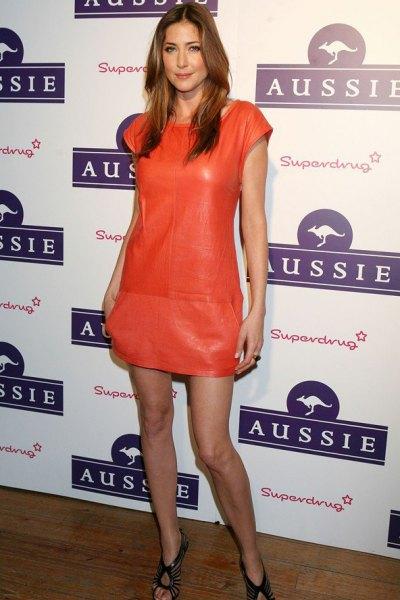 orange leather cap sleeve sheath mini dress