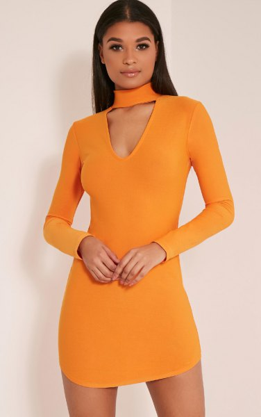 orange choker neck mini bodycon dress