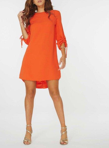long sleeve orange swing mini dress