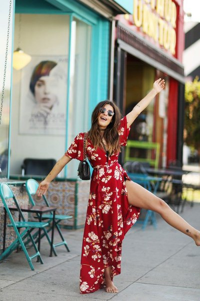 red floral maxi belt wrap dress