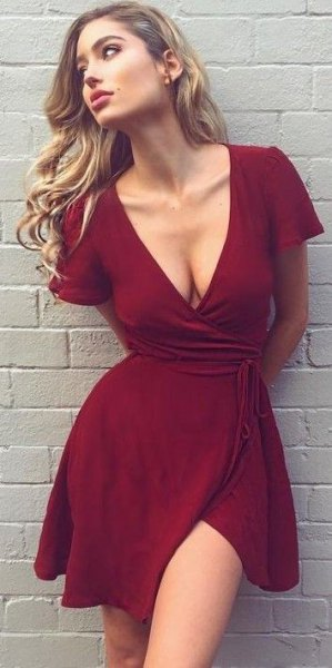 burgundy deep v-neck mini wrap dress