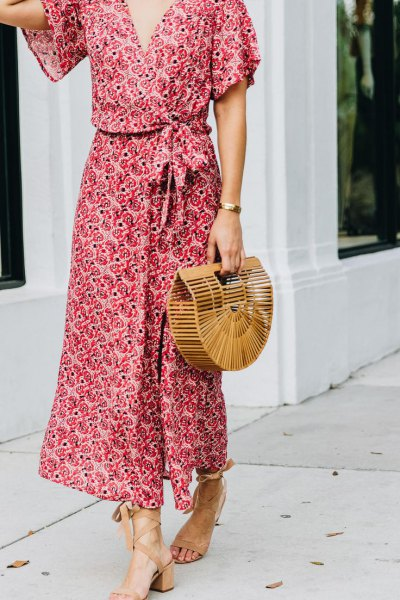 red and white floral maxi dress