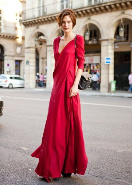 red silk deep maxi dress with v-neck