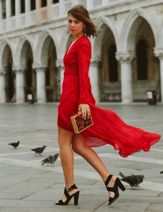 red chiffon dress with high low wrap