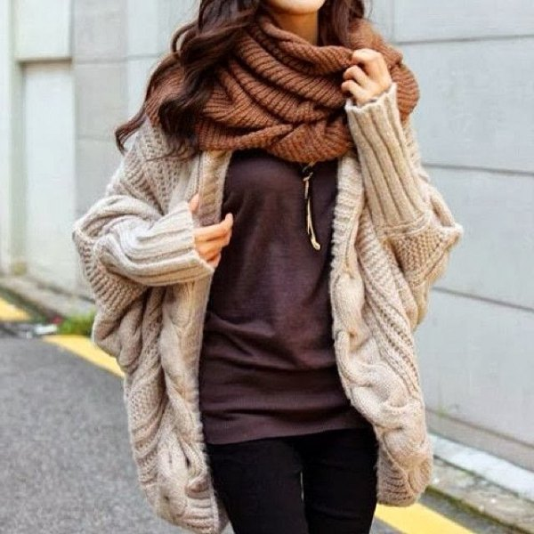 ivory cable knitted chunky cardigan