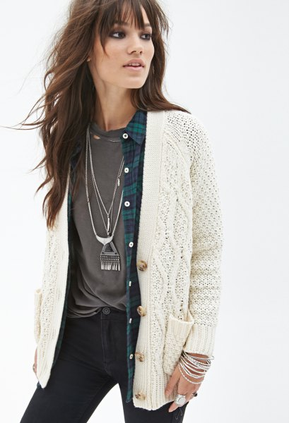 white cardigan over checkered boyfriend shirt tee