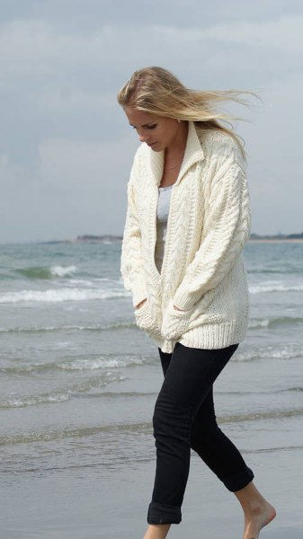 white oversized knitted cardigan