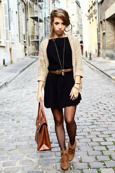 beige cardigan black belt mini dress