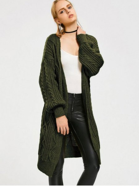 dark green mid length cable knit cardigan