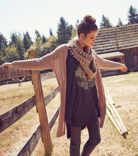 crepe cable knit cardigan long gray t-shirt