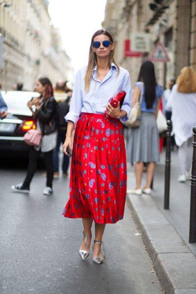 light blue button up shirt red dot midi skirt