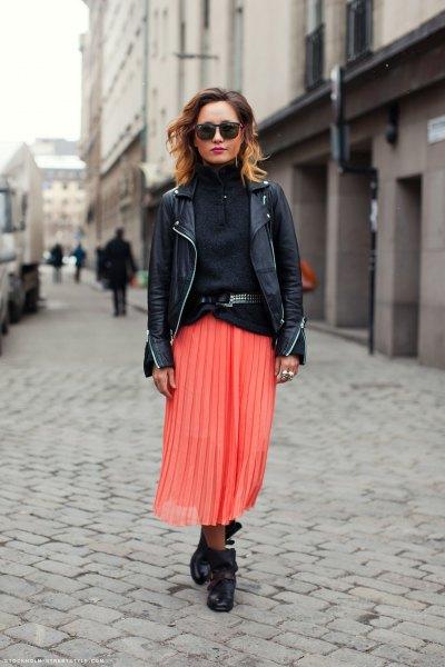 black turtleneck knitted sweater leather jacket