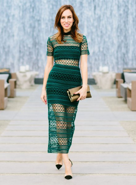 teal two pieces bodycon dress mesh overlays