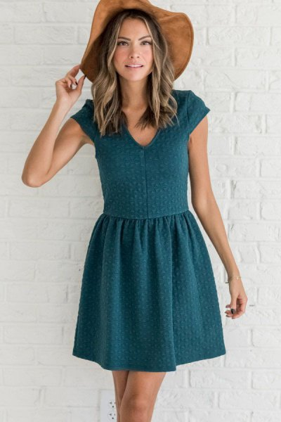 teal knit cap sleeve skater dress