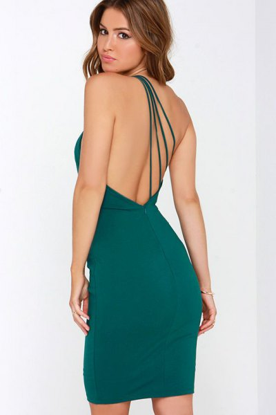 dark teal backless bodycon mini dress