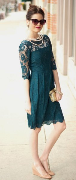 dark teal sheer shoulder knee length lace dress