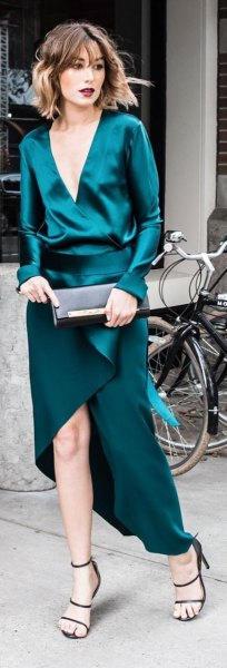 dark teal deep v-neck silk with high low dress