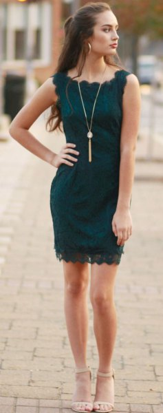 dark teal lace sleeveless bodycon mini dress