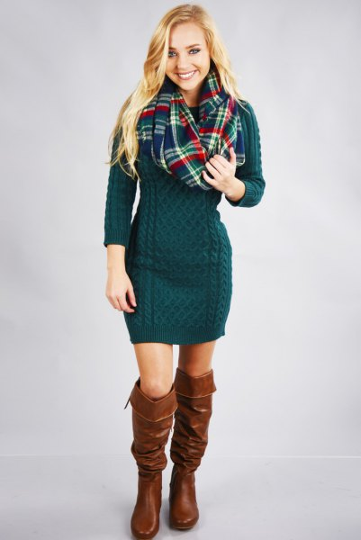 dark teal knitted sweater dress boots