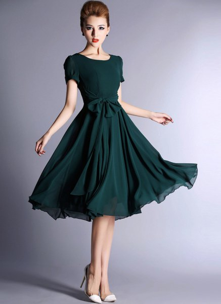 dark teal short-sleeved midi-flare chiffon dress