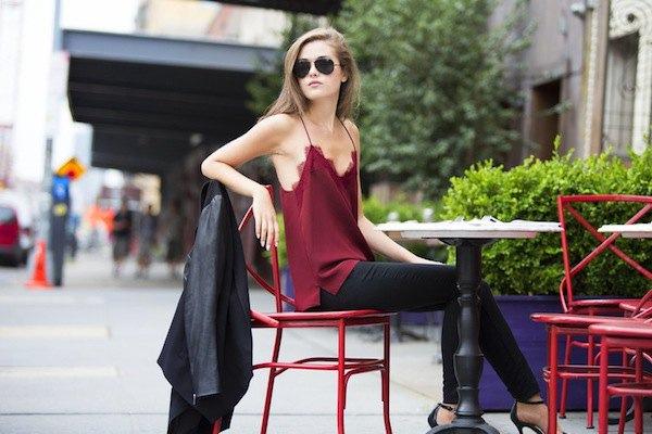 burgundy silk camisole black skinny jeans