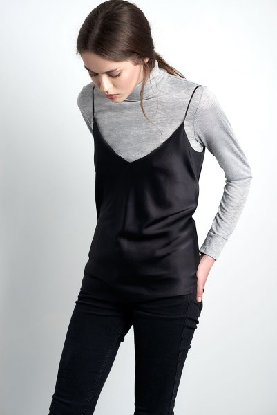 black camisole over gray sweater shirt