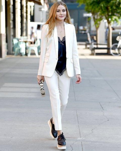 black silk camisole white suit