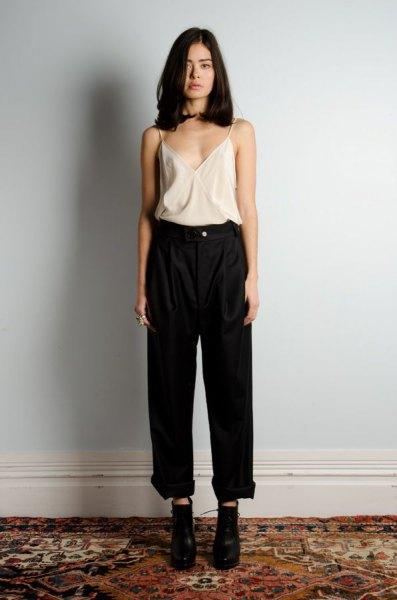white silk camisole black black waist with wide leg jeans