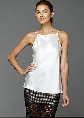 white camisole black semi sheer mesh mini skirt