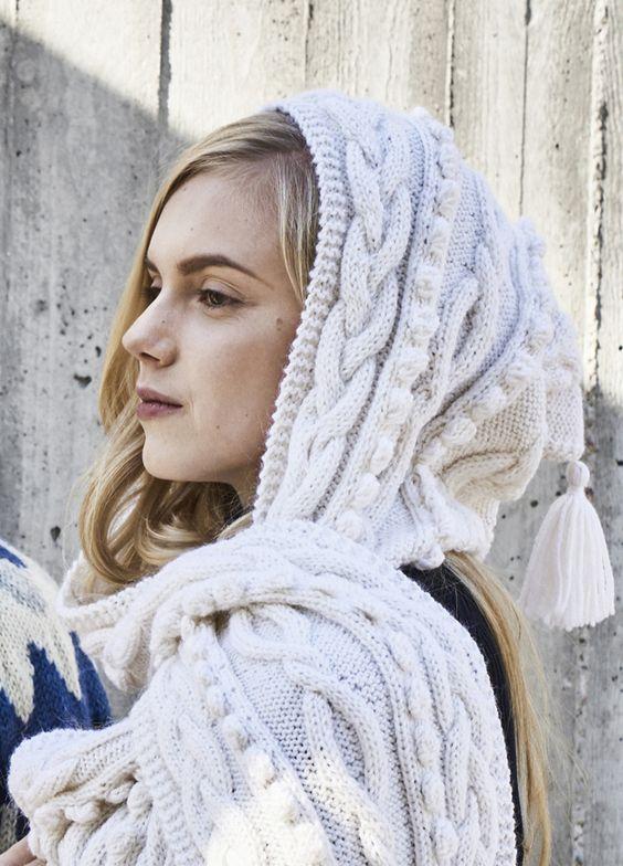 hood scarf white