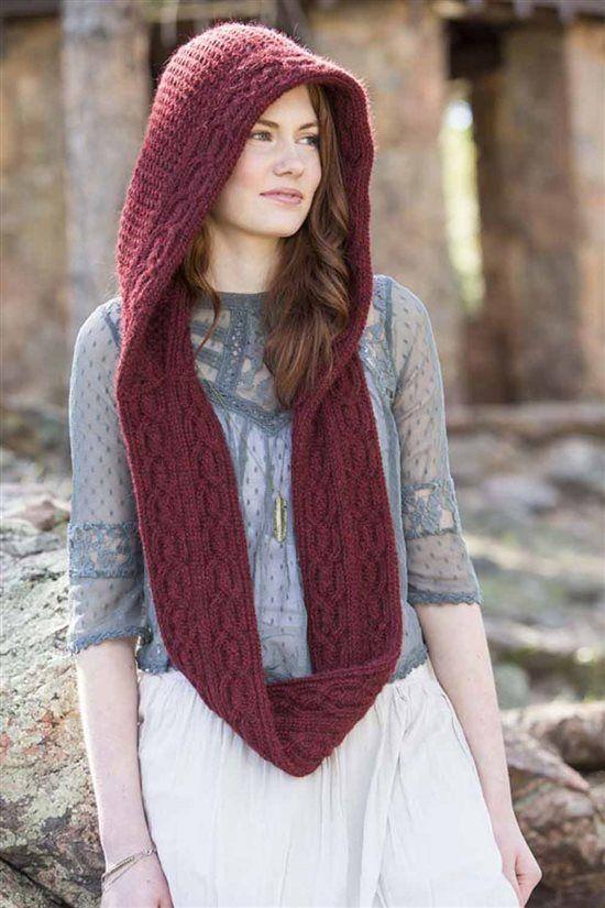 hood scarf burgundy